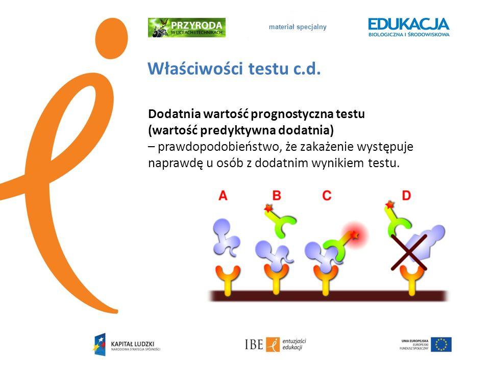 materiał specjalny Właściwości testu c.d. Dodatnia wartość prognostyczna testu (wartość predyktywna dodatnia) – prawdopodobieństwo, że zakażenie wystę
