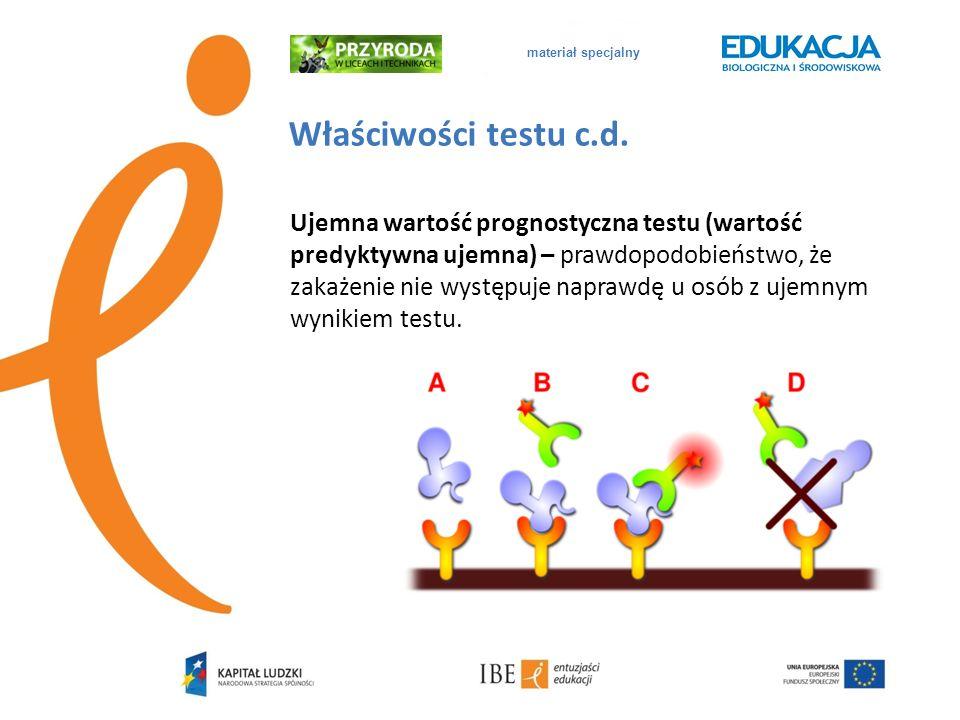 materiał specjalny Właściwości testu c.d. Ujemna wartość prognostyczna testu (wartość predyktywna ujemna) – prawdopodobieństwo, że zakażenie nie wystę