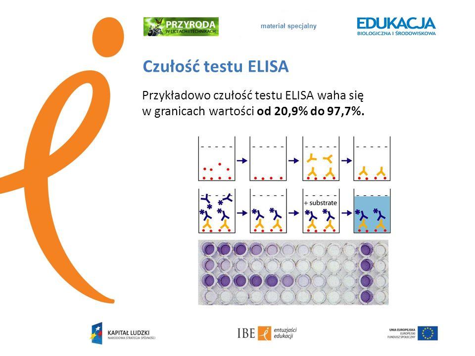 materiał specjalny Czułość testu ELISA Przykładowo czułość testu ELISA waha się w granicach wartości od 20,9% do 97,7%.