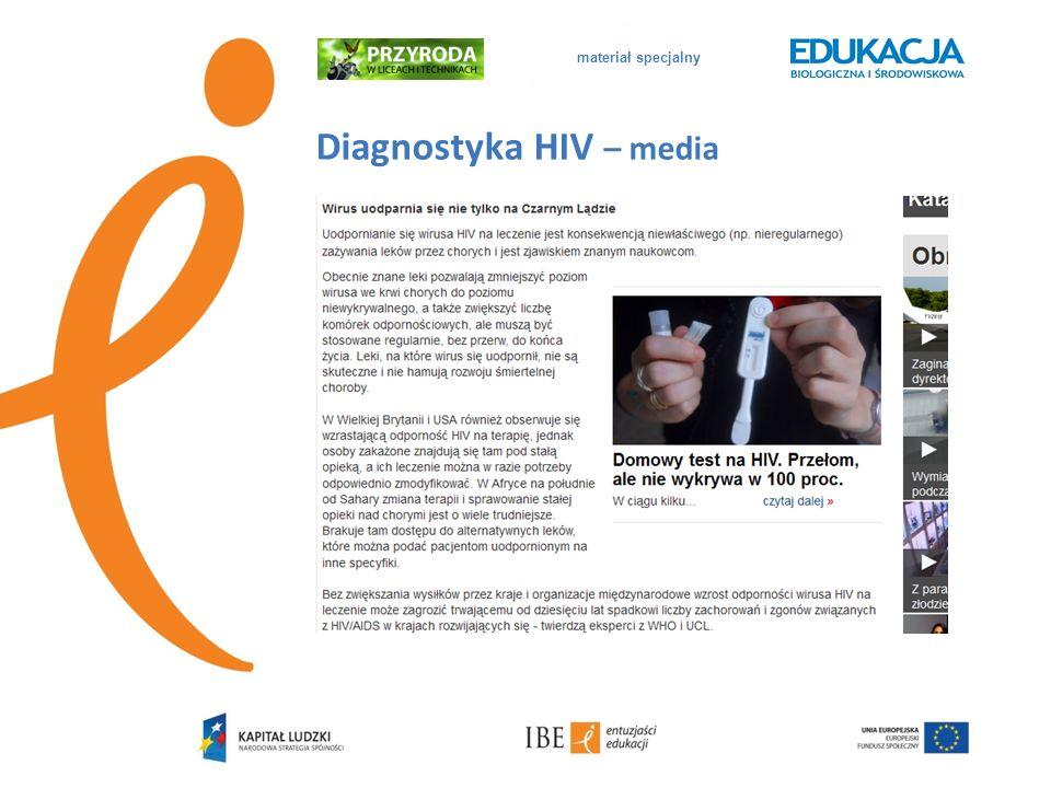 materiał specjalny Diagnostyka HIV – poradnictwo medyczne Test na HIV nie wykrywa samego wirusa, nie jest też testem na AIDS.