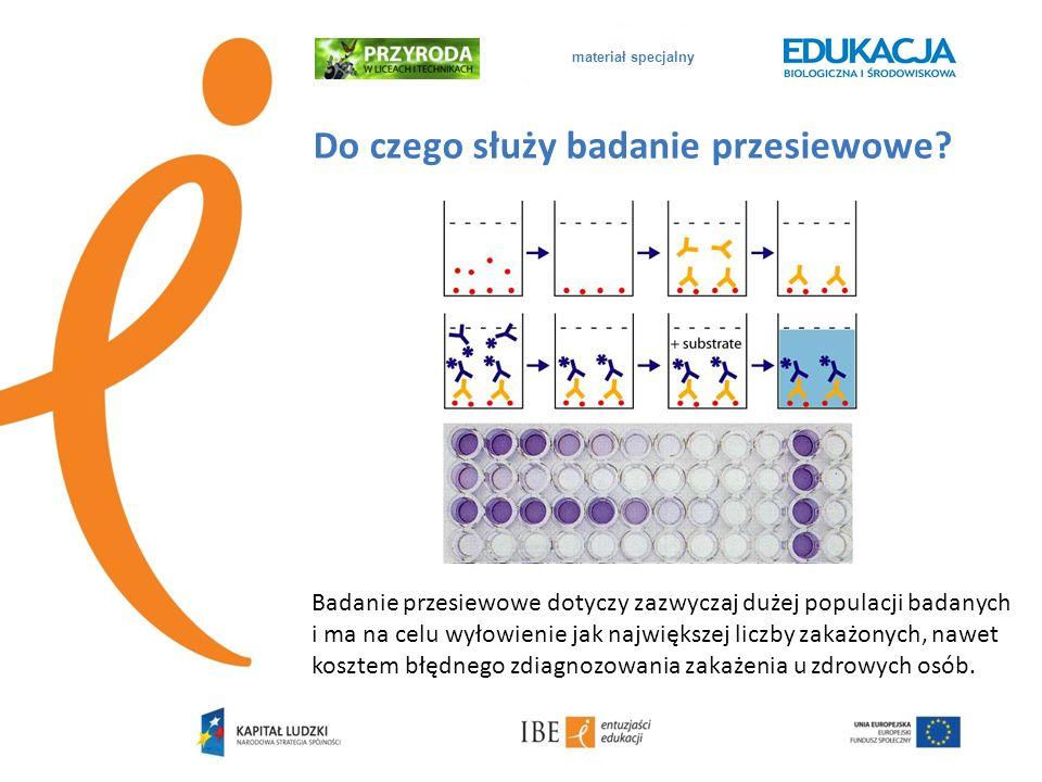 materiał specjalny Źródła http://www.virusmyth.com/aids/hiv/panel/chapter4.htm Źródło obrazu - http://chemi- irls.blog.com/2009/05/15/elisa-test/ http://www.aids.gov.pl/files/publikacje/Diagnostyka_zakaze nia_HIV.pdf http://pl.wikipedia.org/wiki/Czu%C5%82o%C5%9B%C4%87 _testu_diagnostycznego http://hylostet.pl/igm/article/61/ - dodatkowa literatura Obrazy pochodzą ze stron: http://www.nanosphere.us/page/about-us http://hylostet.pl/igm/article/61/ http://www.hivinfosource.org/hivis/hivbasics/results/