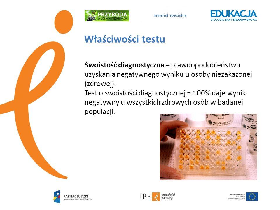 materiał specjalny Właściwości testu Swoistość diagnostyczna – prawdopodobieństwo uzyskania negatywnego wyniku u osoby niezakażonej (zdrowej). Test o