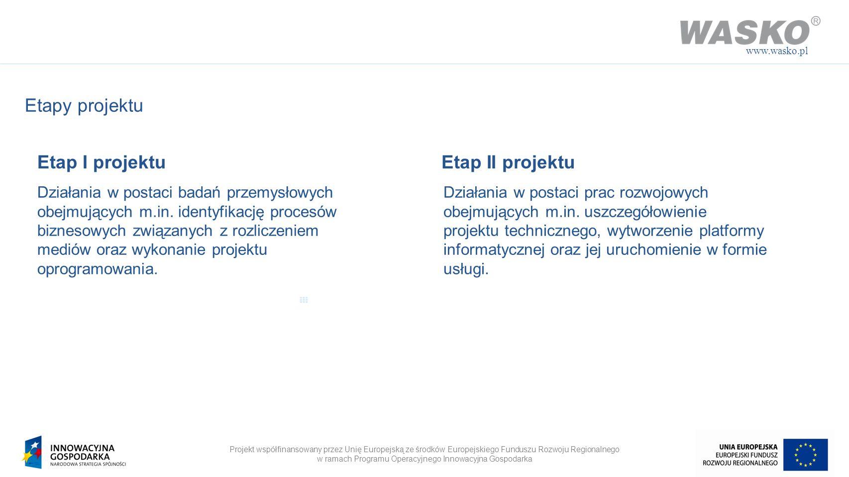 Projekt współfinansowany przez Unię Europejską ze środków Europejskiego Funduszu Rozwoju Regionalnego w ramach Programu Operacyjnego Innowacyjna Gospodarka www.wasko.pl Definicja Systemu NOP Kompleksowa platforma informatyczna wspierająca wytwórcę, sprzedawcę, operatora w zakresie pozyskiwania danych pomiarowych, rozliczenia usług oraz obsługi odbiorców końcowych.