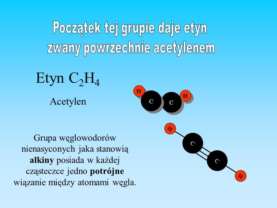 H H H H C C C C Etyn C 2 H 4 Acetylen C C H H Grupa węglowodorów nienasyconych jaka stanowią alkiny posiada w każdej cząsteczce jedno potrójne wiązani