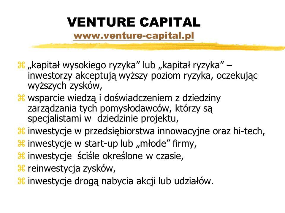 VENTURE CAPITAL www.venture-capital.pl www.venture-capital.pl zkapitał wysokiego ryzyka lub kapitał ryzyka – inwestorzy akceptują wyższy poziom ryzyka, oczekując wyższych zysków, zwsparcie wiedzą i doświadczeniem z dziedziny zarządzania tych pomysłodawców, którzy są specjalistami w dziedzinie projektu, zinwestycje w przedsiębiorstwa innowacyjne oraz hi-tech, zinwestycje w start-up lub młode firmy, zinwestycje ściśle określone w czasie, zreinwestycja zysków, zinwestycje drogą nabycia akcji lub udziałów.