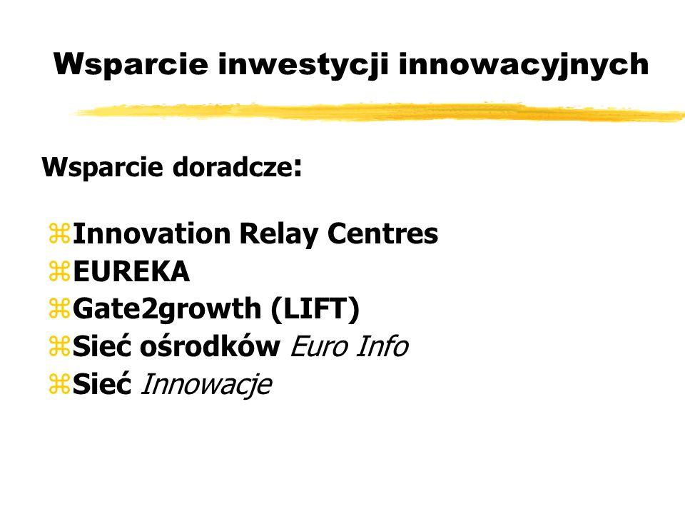 zInnovation Relay Centres zEUREKA zGate2growth (LIFT) zSieć ośrodków Euro Info zSieć Innowacje Wsparcie inwestycji innowacyjnych Wsparcie doradcze :