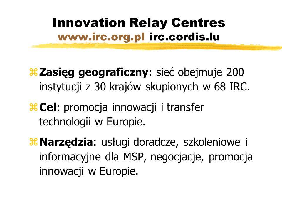 Innovation Relay Centres www.irc.org.pl irc.cordis.lu www.irc.org.pl zZasięg geograficzny: sieć obejmuje 200 instytucji z 30 krajów skupionych w 68 IRC.