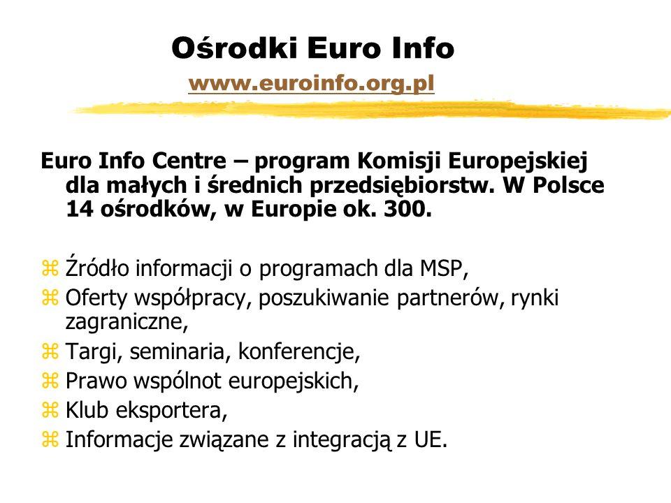 Ośrodki Euro Info www.euroinfo.org.pl www.euroinfo.org.pl Euro Info Centre – program Komisji Europejskiej dla małych i średnich przedsiębiorstw.