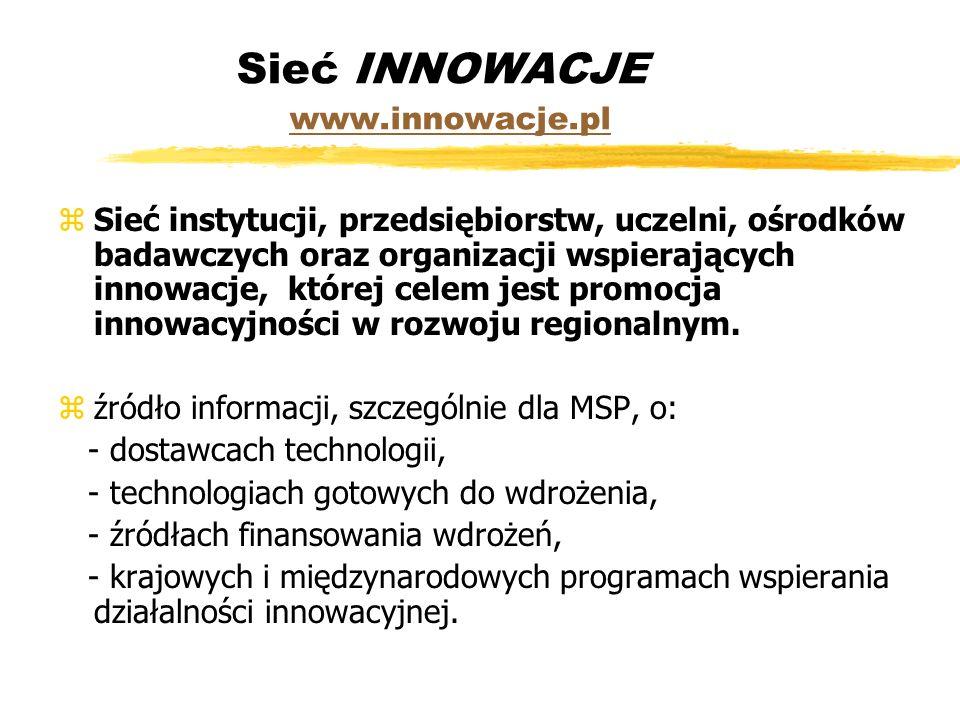 Sieć INNOWACJE www.innowacje.pl www.innowacje.pl zSieć instytucji, przedsiębiorstw, uczelni, ośrodków badawczych oraz organizacji wspierających innowacje, której celem jest promocja innowacyjności w rozwoju regionalnym.
