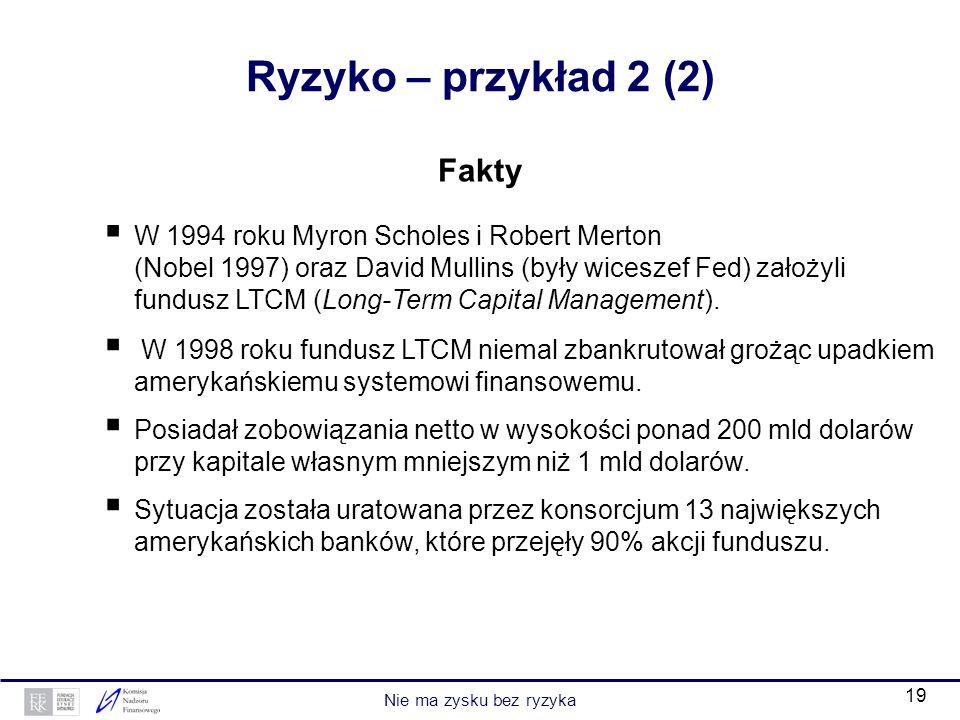 19 Fakty W 1994 roku Myron Scholes i Robert Merton (Nobel 1997) oraz David Mullins (były wiceszef Fed) założyli fundusz LTCM (Long-Term Capital Manage