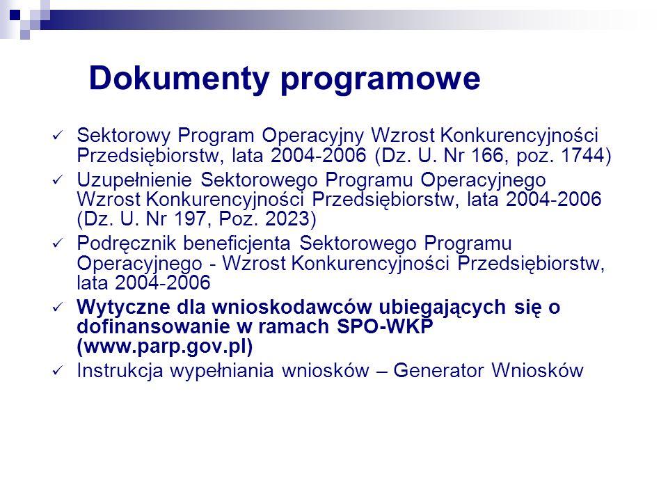 Dokumenty programowe Sektorowy Program Operacyjny Wzrost Konkurencyjności Przedsiębiorstw, lata 2004-2006 (Dz. U. Nr 166, poz. 1744) Uzupełnienie Sekt