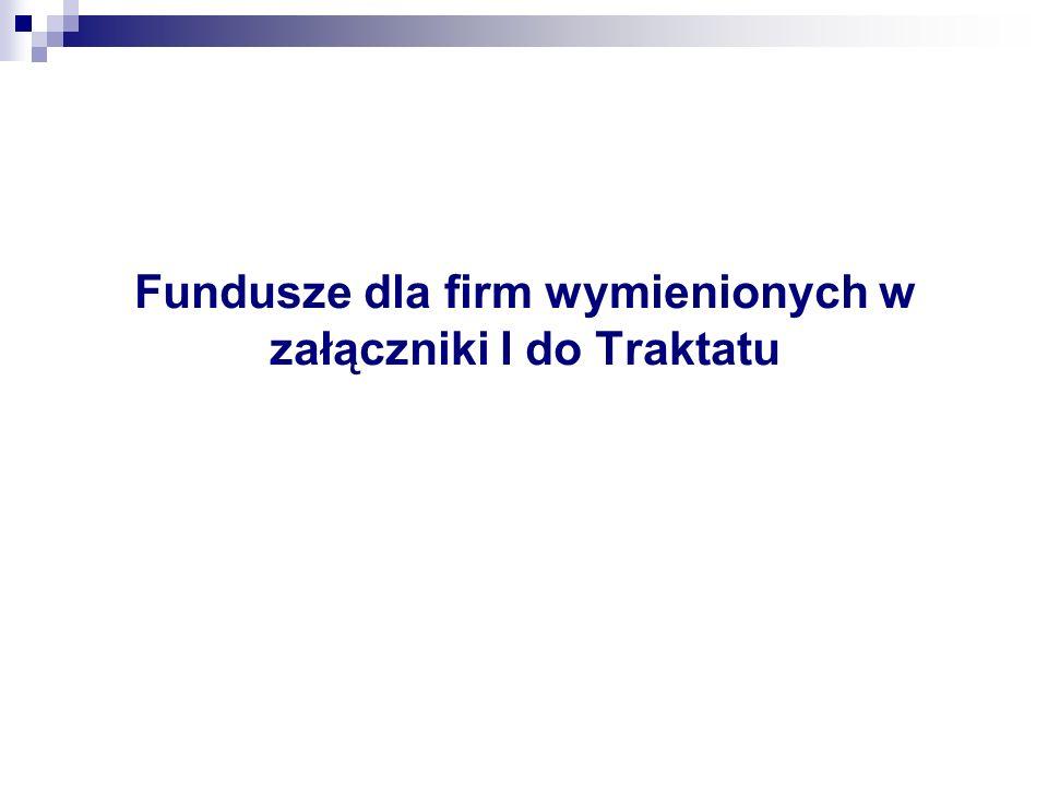 Fundusze dla firm wymienionych w załączniki I do Traktatu