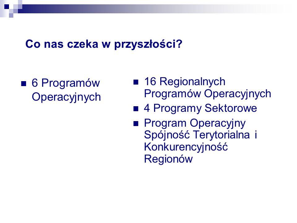 Co nas czeka w przyszłości? 6 Programów Operacyjnych 16 Regionalnych Programów Operacyjnych 4 Programy Sektorowe Program Operacyjny Spójność Terytoria