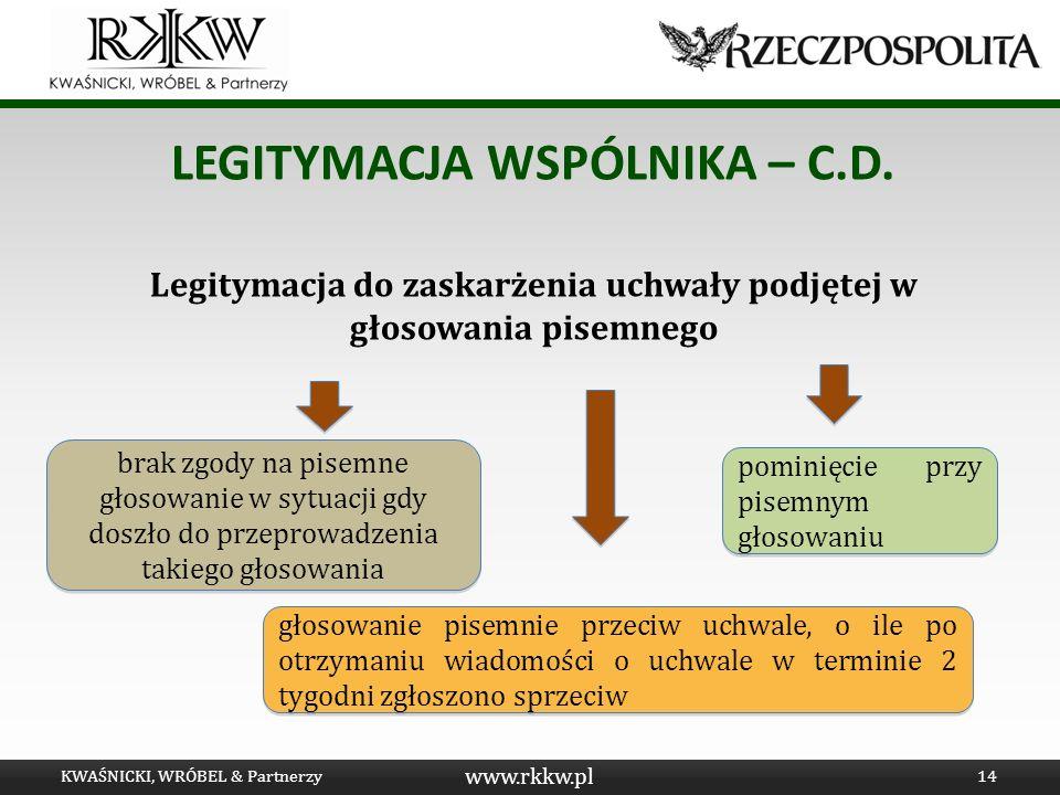 www.rkkw.pl LEGITYMACJA WSPÓLNIKA – C.D. Legitymacja do zaskarżenia uchwały podjętej w głosowania pisemnego KWAŚNICKI, WRÓBEL & Partnerzy14 głosowanie