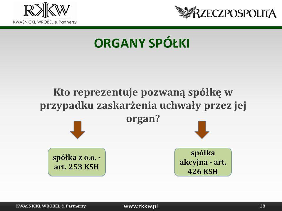www.rkkw.pl ORGANY SPÓŁKI Kto reprezentuje pozwaną spółkę w przypadku zaskarżenia uchwały przez jej organ? KWAŚNICKI, WRÓBEL & Partnerzy28 spółka z o.