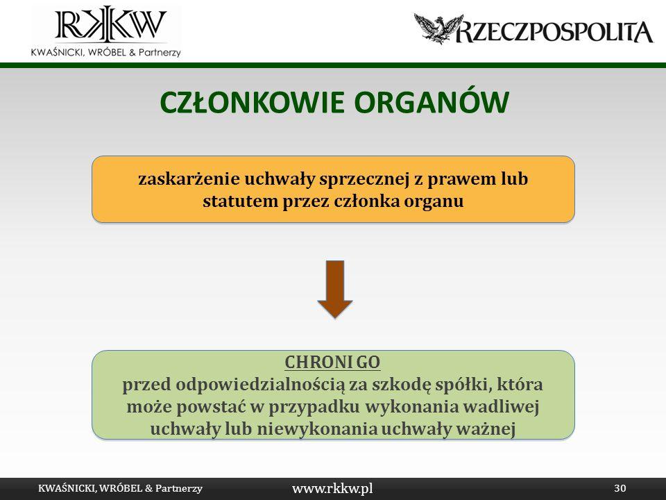 www.rkkw.pl CZŁONKOWIE ORGANÓW KWAŚNICKI, WRÓBEL & Partnerzy30 zaskarżenie uchwały sprzecznej z prawem lub statutem przez członka organu CHRONI GO prz