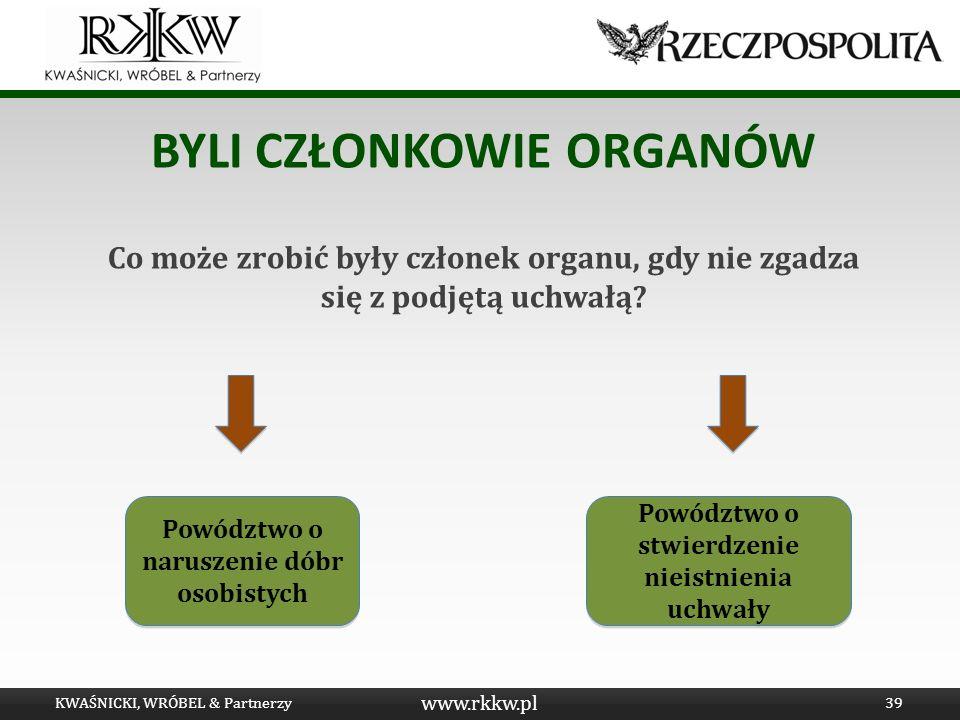 www.rkkw.pl BYLI CZŁONKOWIE ORGANÓW Co może zrobić były członek organu, gdy nie zgadza się z podjętą uchwałą? KWAŚNICKI, WRÓBEL & Partnerzy39 Powództw
