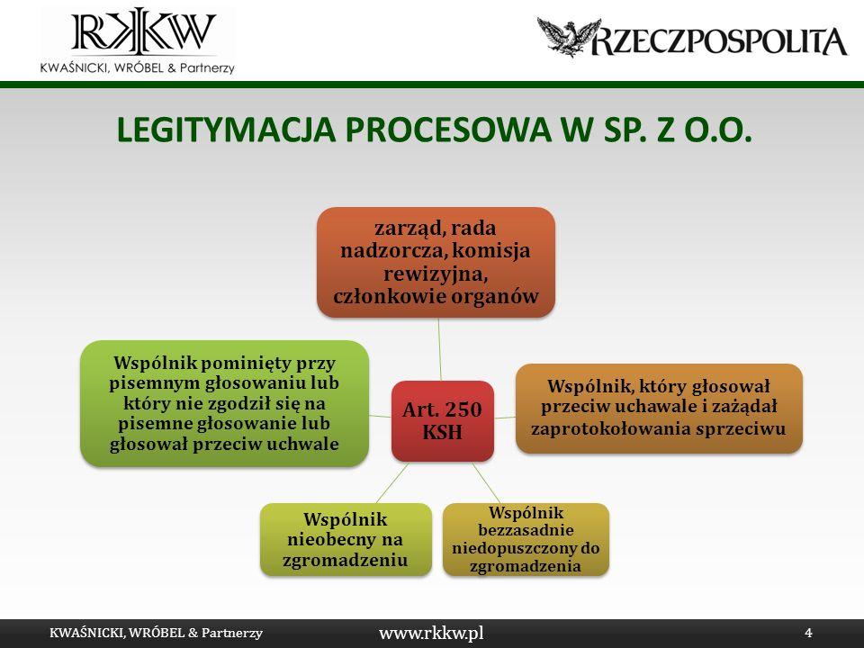 www.rkkw.pl LEGITYMACJA WSPÓLNIKA Warunki powstania legitymacji: specyfika głosowania tajnego wyjątek: akcje nieme KWAŚNICKI, WRÓBEL & Partnerzy5 Głosowanie przeciw uchwale
