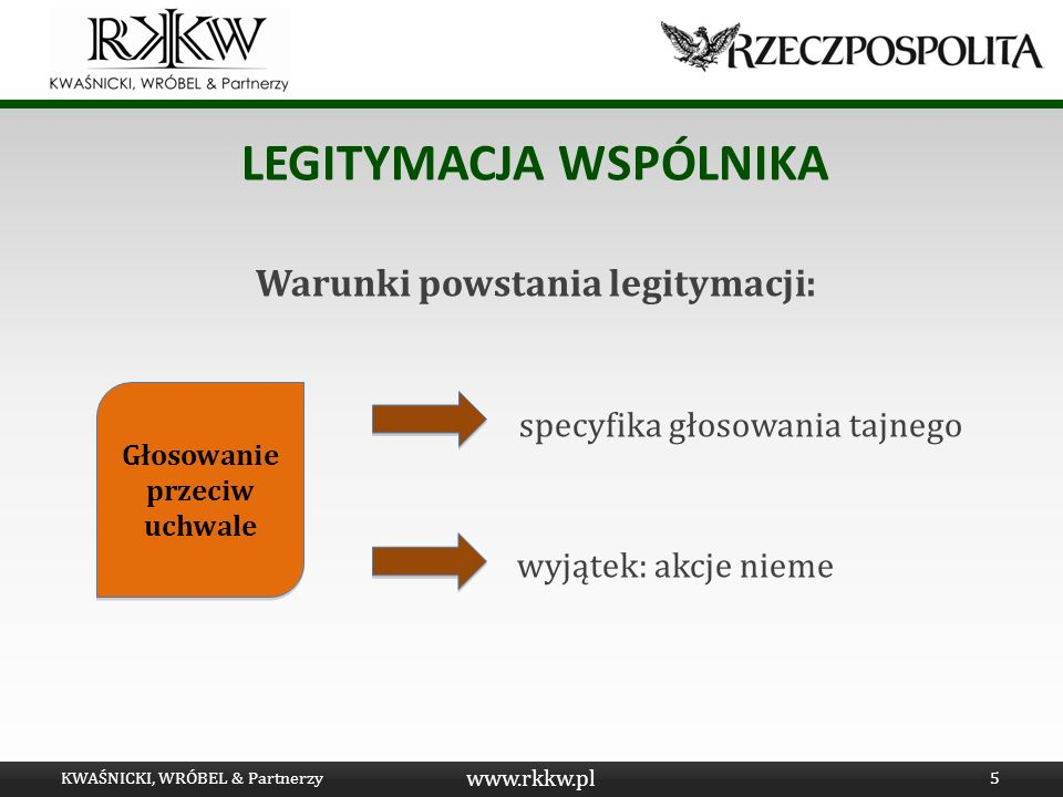 www.rkkw.pl LEGITYMACJA WSPÓLNIKA Warunki powstania legitymacji: specyfika głosowania tajnego wyjątek: akcje nieme KWAŚNICKI, WRÓBEL & Partnerzy5 Głos