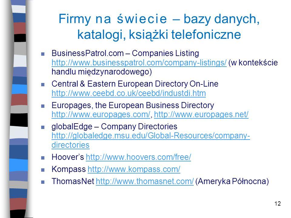 12 Firmy na świecie – bazy danych, katalogi, książki telefoniczne n BusinessPatrol.com – Companies Listing http://www.businesspatrol.com/company-listi