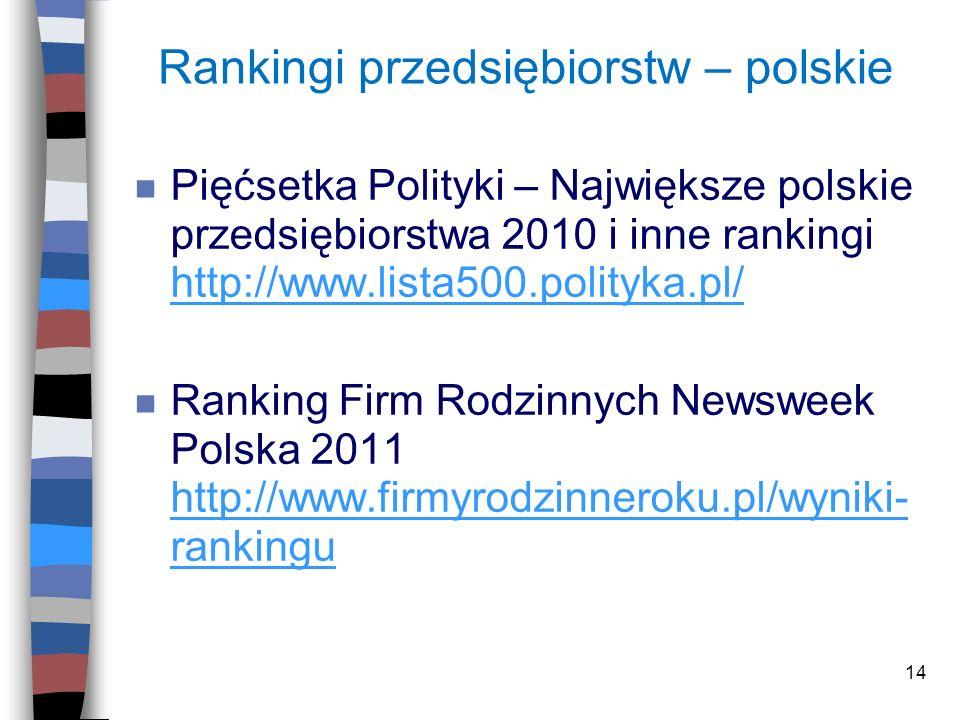 14 Rankingi przedsiębiorstw – polskie n Pięćsetka Polityki – Największe polskie przedsiębiorstwa 2010 i inne rankingi http://www.lista500.polityka.pl/