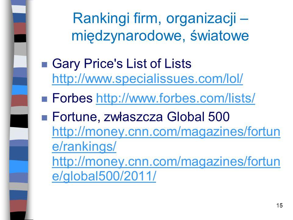 15 Rankingi firm, organizacji – międzynarodowe, światowe n Gary Price's List of Lists http://www.specialissues.com/lol/ http://www.specialissues.com/l