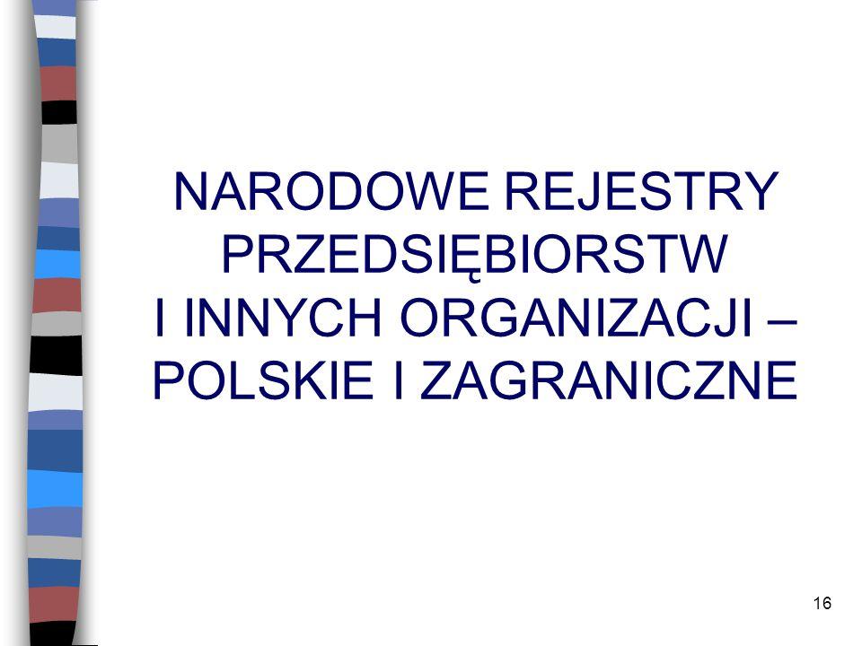 16 NARODOWE REJESTRY PRZEDSIĘBIORSTW I INNYCH ORGANIZACJI – POLSKIE I ZAGRANICZNE