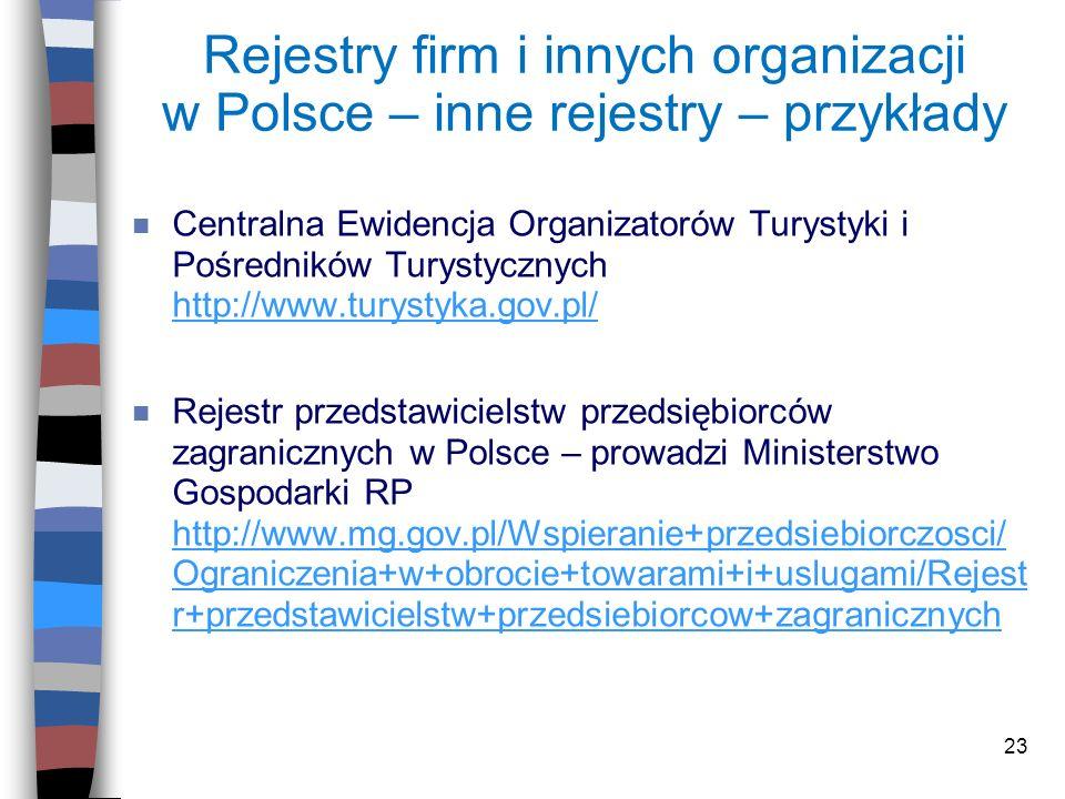 23 Rejestry firm i innych organizacji w Polsce – inne rejestry – przykłady n Centralna Ewidencja Organizatorów Turystyki i Pośredników Turystycznych h