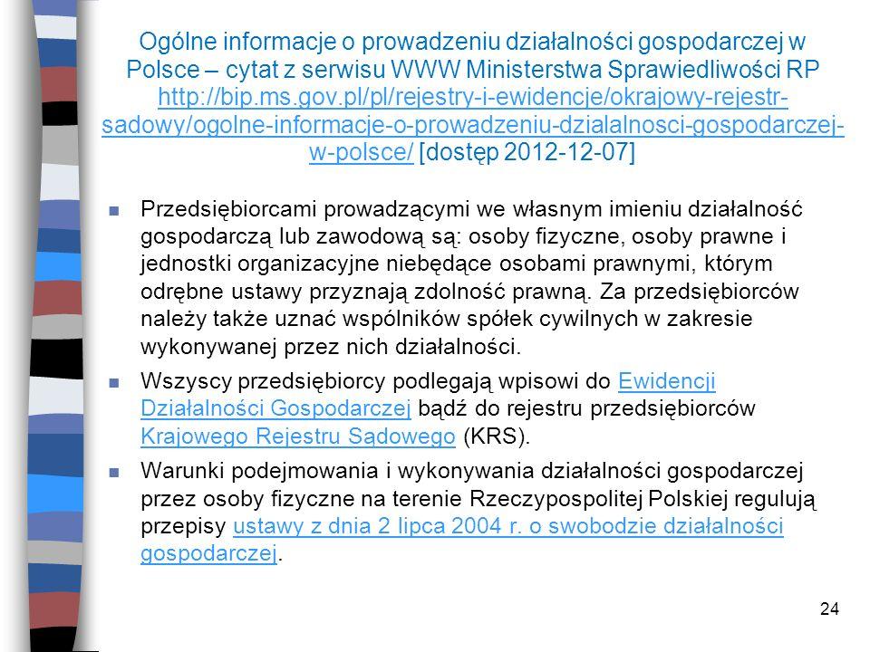 24 Ogólne informacje o prowadzeniu działalności gospodarczej w Polsce – cytat z serwisu WWW Ministerstwa Sprawiedliwości RP http://bip.ms.gov.pl/pl/re