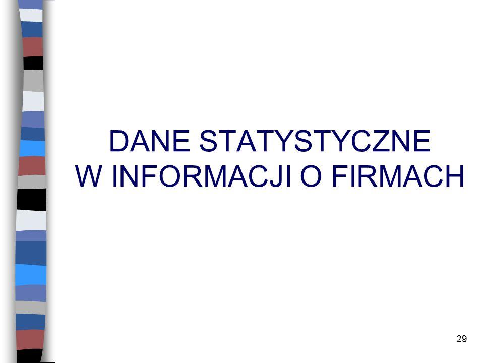 29 DANE STATYSTYCZNE W INFORMACJI O FIRMACH