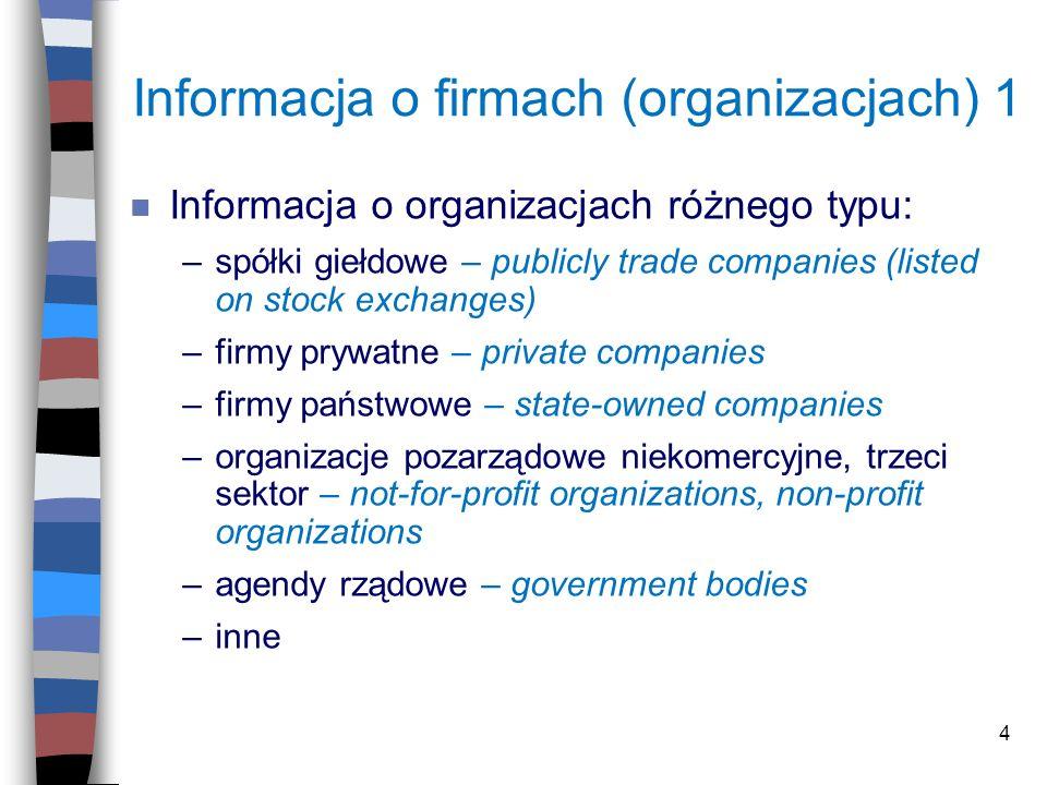 4 Informacja o firmach (organizacjach) 1 n Informacja o organizacjach różnego typu: –spółki giełdowe – publicly trade companies (listed on stock excha