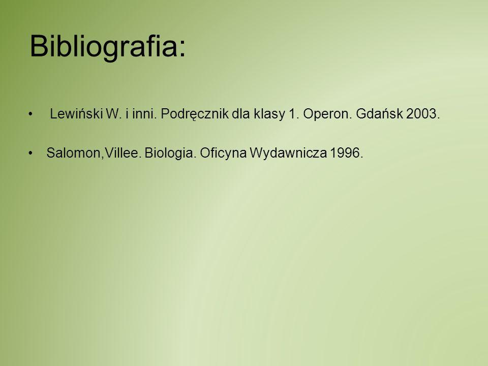 Bibliografia: Lewiński W. i inni. Podręcznik dla klasy 1. Operon. Gdańsk 2003. Salomon,Villee. Biologia. Oficyna Wydawnicza 1996.