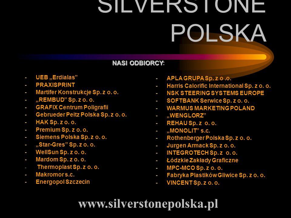 SILVERSTONE POLSKA -UEB Erdialas -PRAXISPRINT -Martifer Konstrukcje Sp. z o. o. -REMBUD Sp. z o. o. -GRAFIX Centrum Poligrafii -Gebrueder Peitz Polska