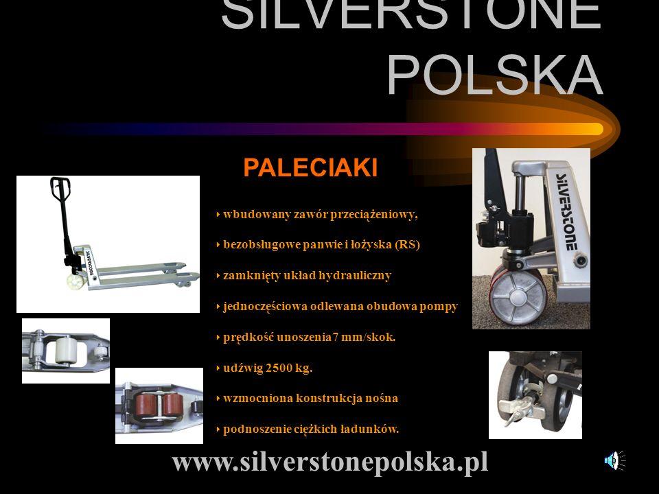 SILVERSTONE POLSKA www.silverstonepolska.pl PALECIAKI wbudowany zawór przeciążeniowy, bezobsługowe panwie i łożyska (RS) zamknięty układ hydrauliczny