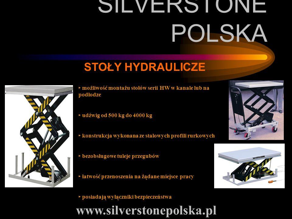 SILVERSTONE POLSKA www.silverstonepolska.pl STOŁY HYDRAULICZE możliwość montażu stołów serii HW w kanale lub na podłodze udźwig od 500 kg do 4000 kg k