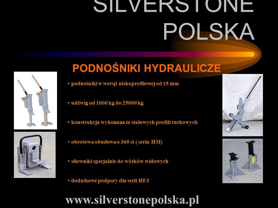 SILVERSTONE POLSKA PODNOŚNIKI HYDRAULICZE podnośniki w wersji niskoprofilowej od 15 mm udźwig od 1000 kg do 25000 kg konstrukcja wykonana ze stalowych