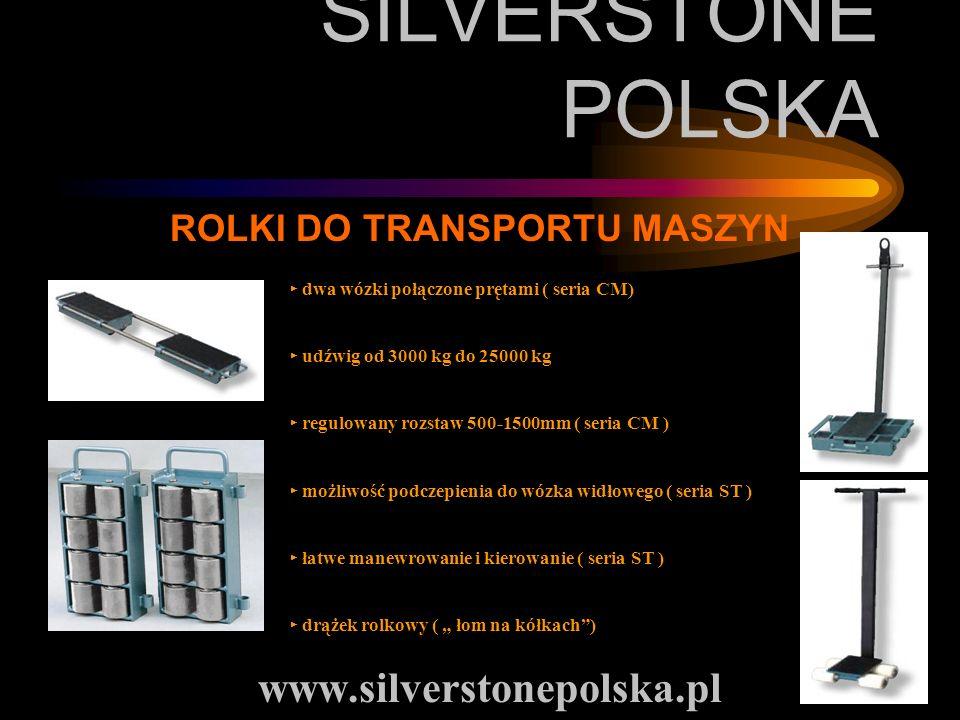 SILVERSTONE POLSKA www.silverstonepolska.pl ROLKI DO TRANSPORTU MASZYN dwa wózki połączone prętami ( seria CM) udźwig od 3000 kg do 25000 kg regulowan