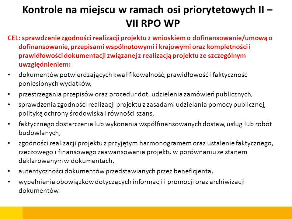 Kontrole na miejscu w ramach osi priorytetowych II – VII RPO WP CEL: sprawdzenie zgodności realizacji projektu z wnioskiem o dofinansowanie/umową o do