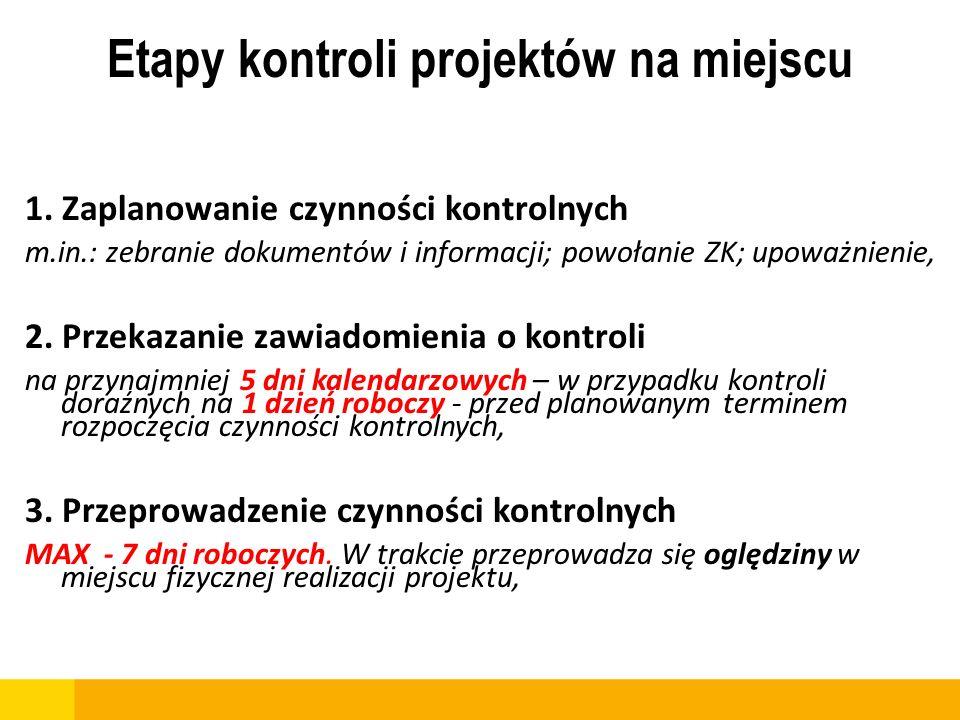 Etapy kontroli projektów na miejscu 1. Zaplanowanie czynności kontrolnych m.in.: zebranie dokumentów i informacji; powołanie ZK; upoważnienie, 2. Prze