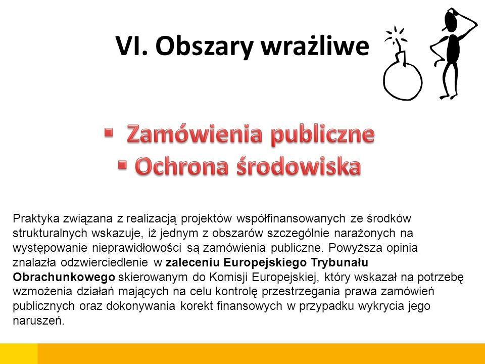 VI. Obszary wrażliwe Praktyka związana z realizacją projektów współfinansowanych ze środków strukturalnych wskazuje, iż jednym z obszarów szczególnie
