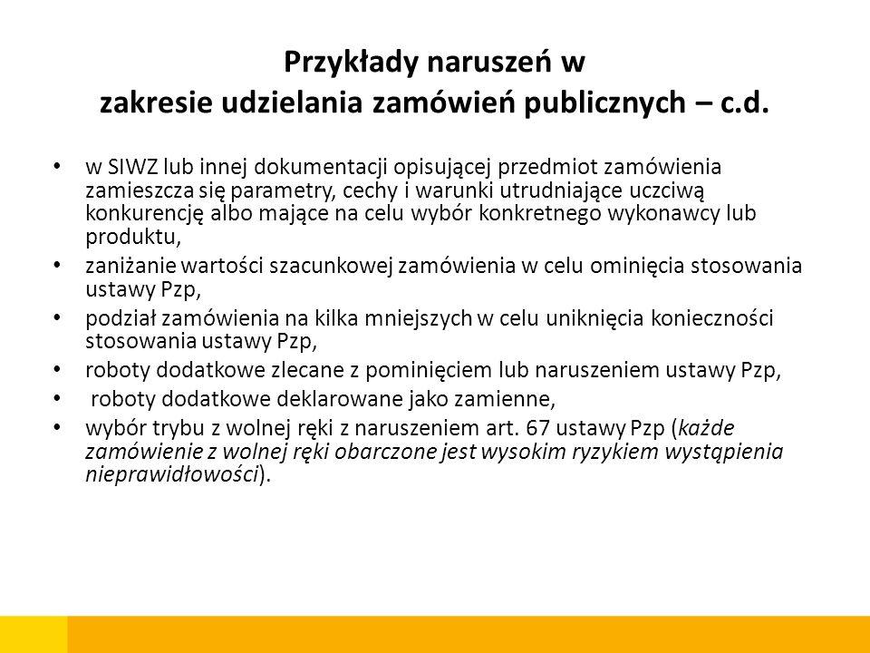 Przykłady naruszeń w zakresie udzielania zamówień publicznych – c.d. w SIWZ lub innej dokumentacji opisującej przedmiot zamówienia zamieszcza się para