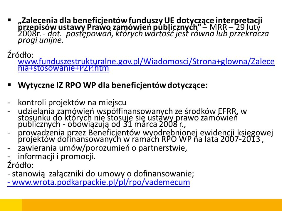 Wniosek o dofinansowanie Umowa o dofinansowanie Wnioski o płatność Zakończenie realizacji projektu Zakończenie okresu trwałości projektu II.