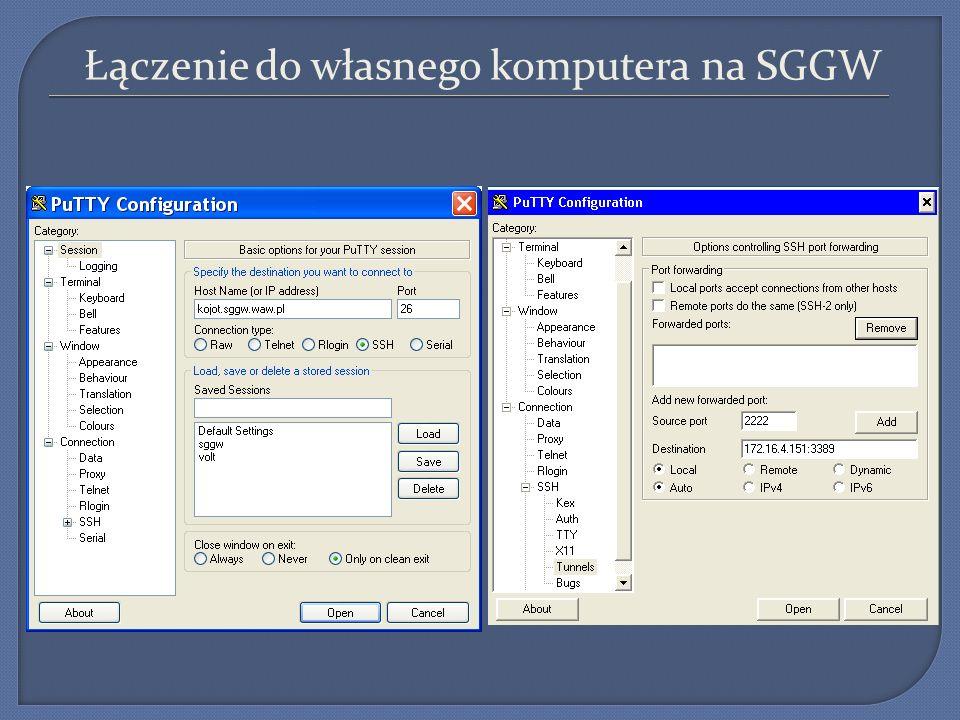 Łączenie do własnego komputera na SGGW