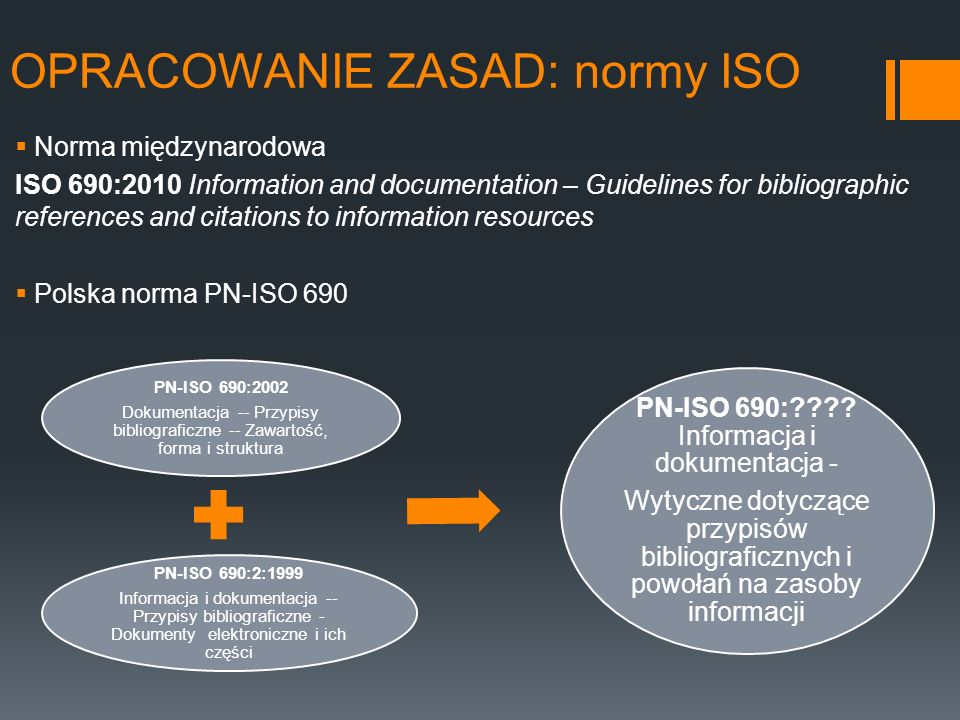 OPRACOWANIE ZASAD: normy ISO Norma międzynarodowa ISO 690:2010 Information and documentation – Guidelines for bibliographic references and citations t