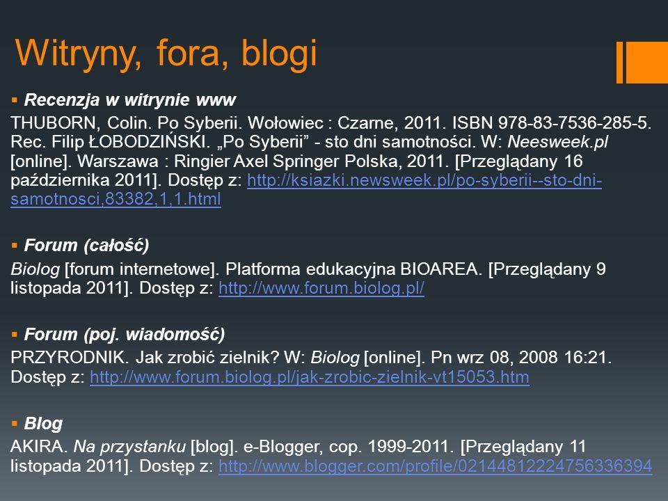 Witryny, fora, blogi Recenzja w witrynie www THUBORN, Colin. Po Syberii. Wołowiec : Czarne, 2011. ISBN 978-83-7536-285-5. Rec. Filip ŁOBODZIŃSKI. Po S