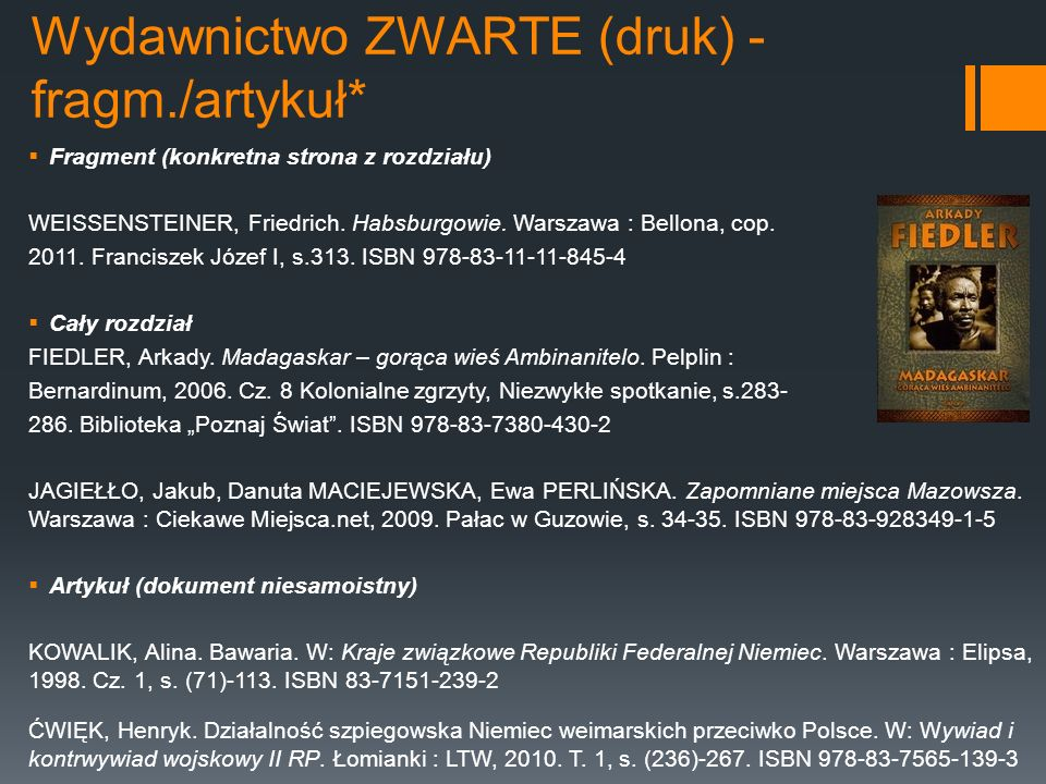 Wydawnictwo ZWARTE (druk) - fragm./artykuł* Fragment (konkretna strona z rozdziału) WEISSENSTEINER, Friedrich. Habsburgowie. Warszawa : Bellona, cop.