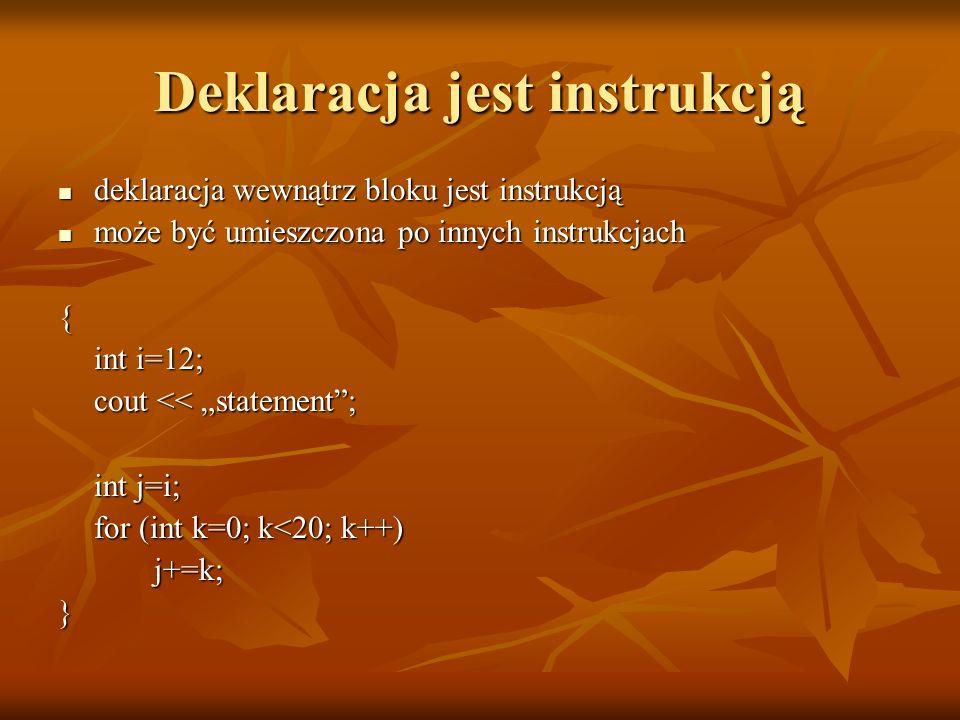 Deklaracja jest instrukcją deklaracja wewnątrz bloku jest instrukcją deklaracja wewnątrz bloku jest instrukcją może być umieszczona po innych instrukc