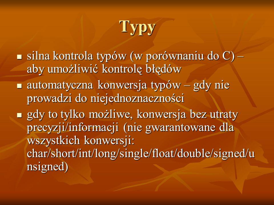 Typy silna kontrola typów (w porównaniu do C) – aby umożliwić kontrolę błędów silna kontrola typów (w porównaniu do C) – aby umożliwić kontrolę błędów