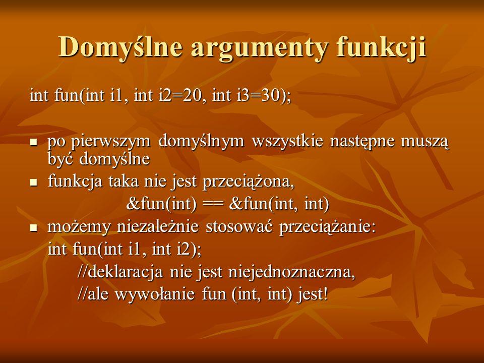 Domyślne argumenty funkcji int fun(int i1, int i2=20, int i3=30); po pierwszym domyślnym wszystkie następne muszą być domyślne po pierwszym domyślnym