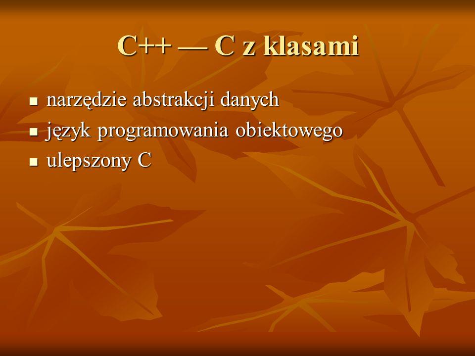 C++ C z klasami narzędzie abstrakcji danych narzędzie abstrakcji danych język programowania obiektowego język programowania obiektowego ulepszony C ul